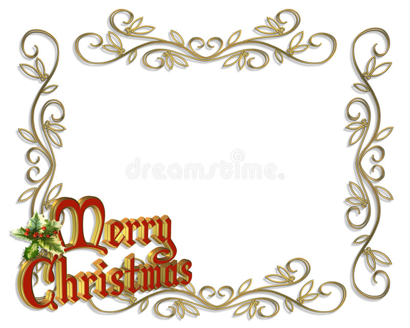 Merry Christmas Border Illustration 3D Royalty Free Stock ...