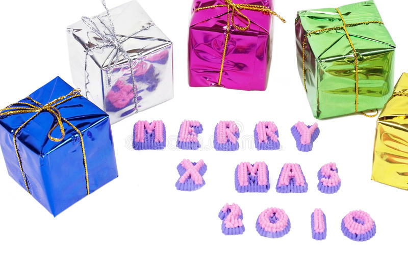 Download Merry Christmas Boxes On White Stock Image - Image: 11933189