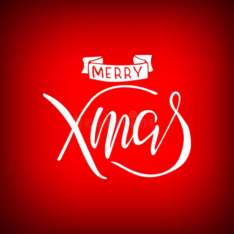 Merry Christmas brush hand lettering isolated on red bac stock illustration