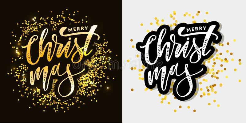 Merry Christmas Calligraphic Inscription Decorated with Golden vector illustration