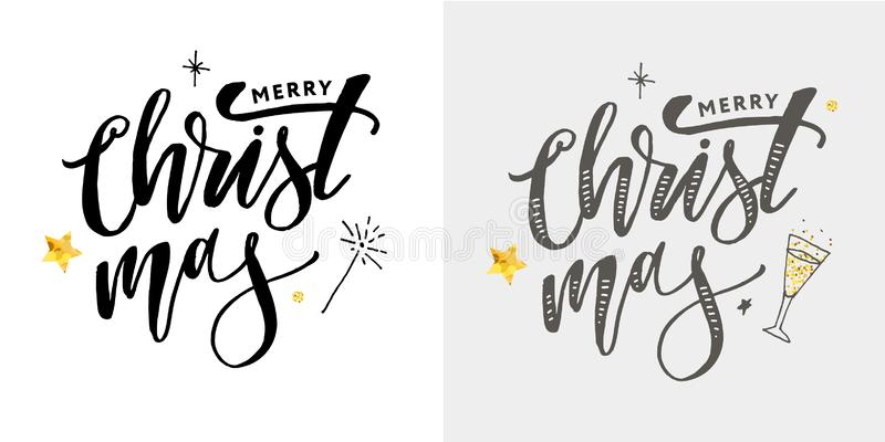 Merry Christmas Calligraphic Inscription Decorated with Golden stock illustration