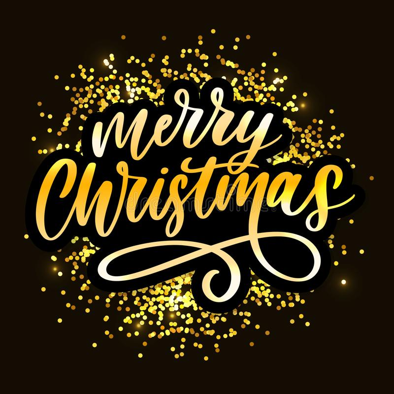 Merry Christmas Calligraphic Inscription Decorated with Golden frame vector illustration