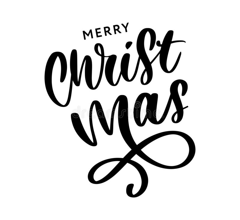 Merry Christmas Calligraphic Inscription Decorated with Golden Stars and Beads vector illustration