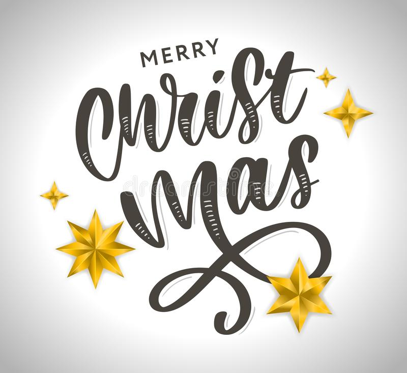 Merry Christmas Calligraphic Inscription Decorated with Golden Stars and Beads royalty free illustration