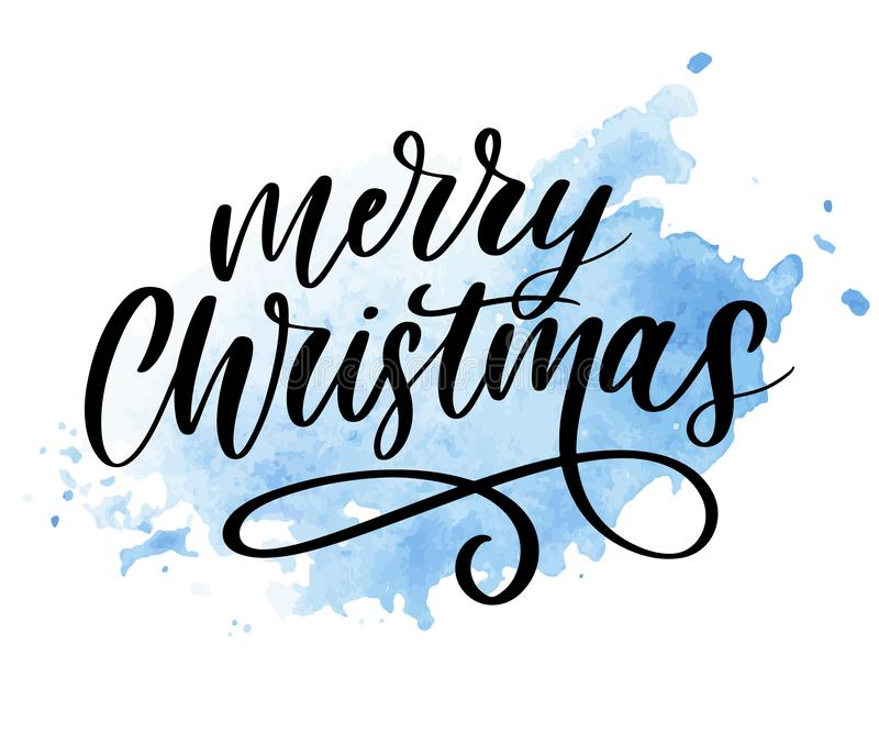 Merry Christmas Calligraphic Inscription Decorated lettering text stock illustration