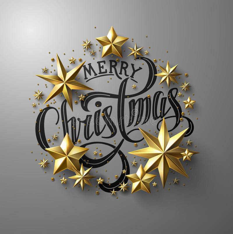 Merry Christmas Calligraphic Lettering. Decorated with Cutout Gold Foil Stars . Chic Christmas Greeting Card. Christmas emblem, wreath