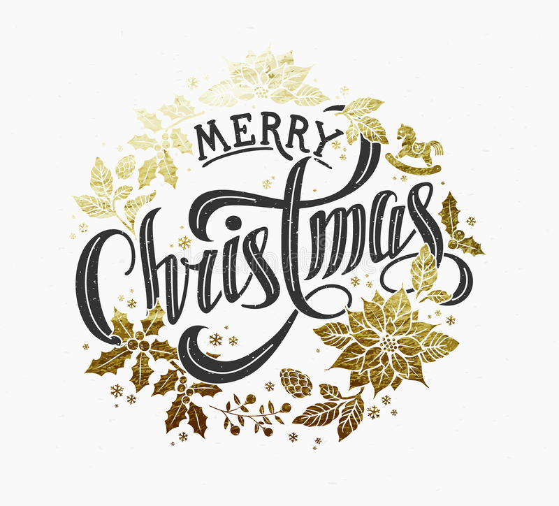 Merry Christmas Calligraphic Lettering Design royalty free stock images