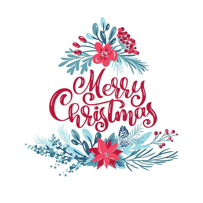 Merry Christmas calligraphic lettering hand written vector text. Greeting card design with floral plants xmas elements stock illustration