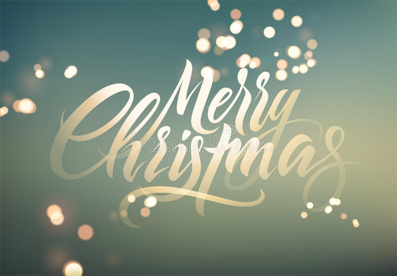 Merry Christmas. Calligraphic retro Christmas greeting card design on blurry background. Vector illustration. Eps 10. stock illustration