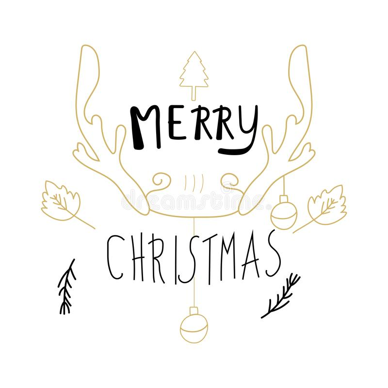Merry Christmas calligraphy design doodle elements. antler, leaves and ball on white background. Hand Drawn vector illustration stock illustration