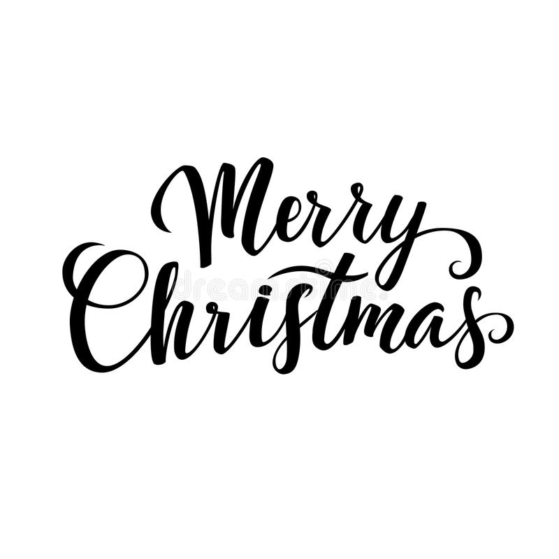 merry christmas calligraphy greeting card black typography on white