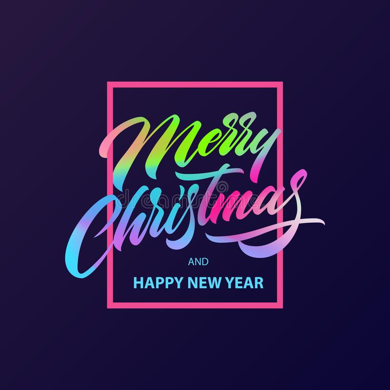 Merry Christmas calligraphy Lettering stock illustration