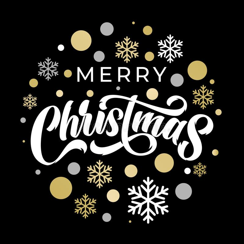 Free Merry Christmas Calligraphy Lettering On Golden And Silver Snowflake Ornament Pattern. Merry Christmas Greeting Card With Stars Royalty Free Stock Photos - 161600098
