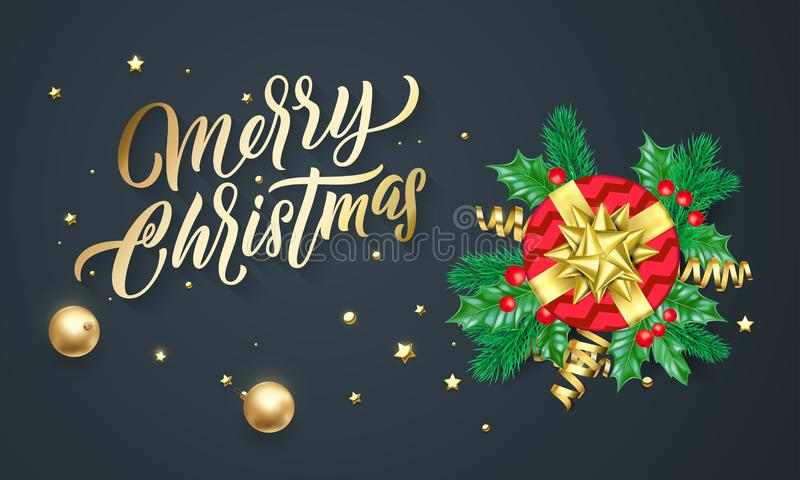 Merry Christmas calligraphy lettering, Xmas gifts, gold stars and confetti. Christmas holiday vector greeting card vector illustration