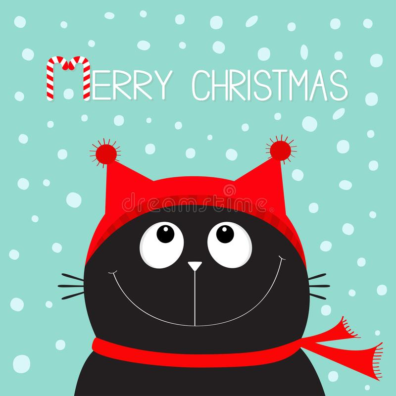 Merry Christmas candy cane text. Black Cat kitten head face looking up. stock illustration