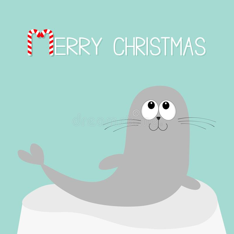 Free Merry Christmas Candy Cane Text. Sea Lion. Harp Seal Pup Lying On Iceberg Ice. Cute Cartoon Character. Happy Baby Animal Collectio Stock Photo - 104388070