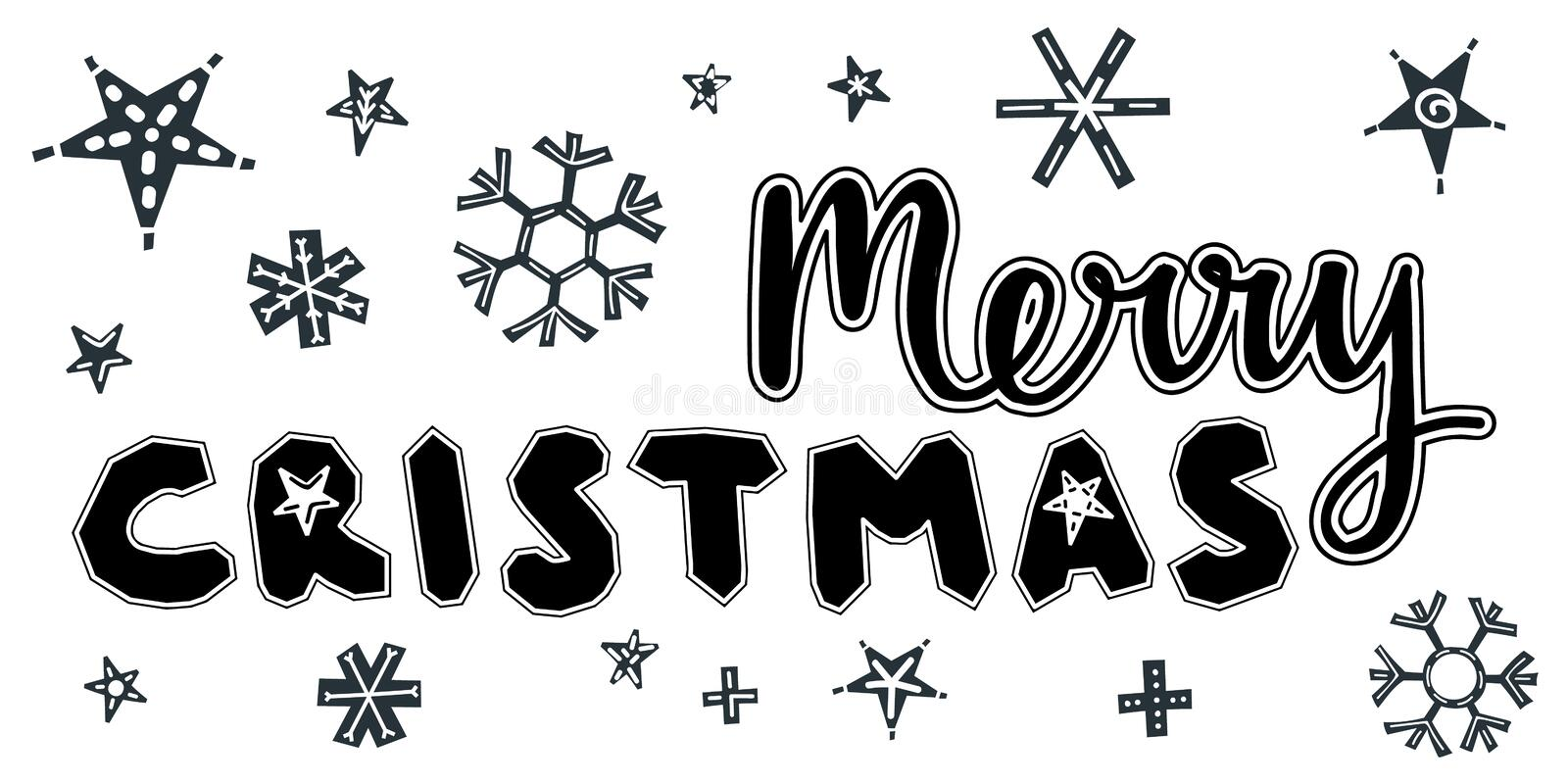 Merry Christmas caption. Vector illustration. Merry Christmas caption with stars and snowflakes. Hand drawn lettering on white background. For design greeting vector illustration