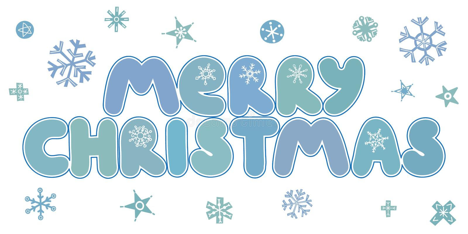 Merry Christmas caption. Vector illustration. Merry Christmas caption with stars and snowflakes. Hand drawn lettering on white background. For design greeting stock illustration