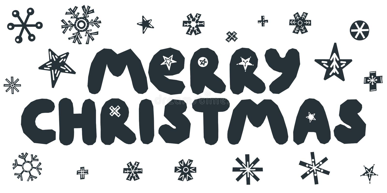 Merry Christmas caption. Vector illustration. Merry Christmas caption with stars and snowflakes. Hand drawn lettering on white background. For design greeting royalty free illustration