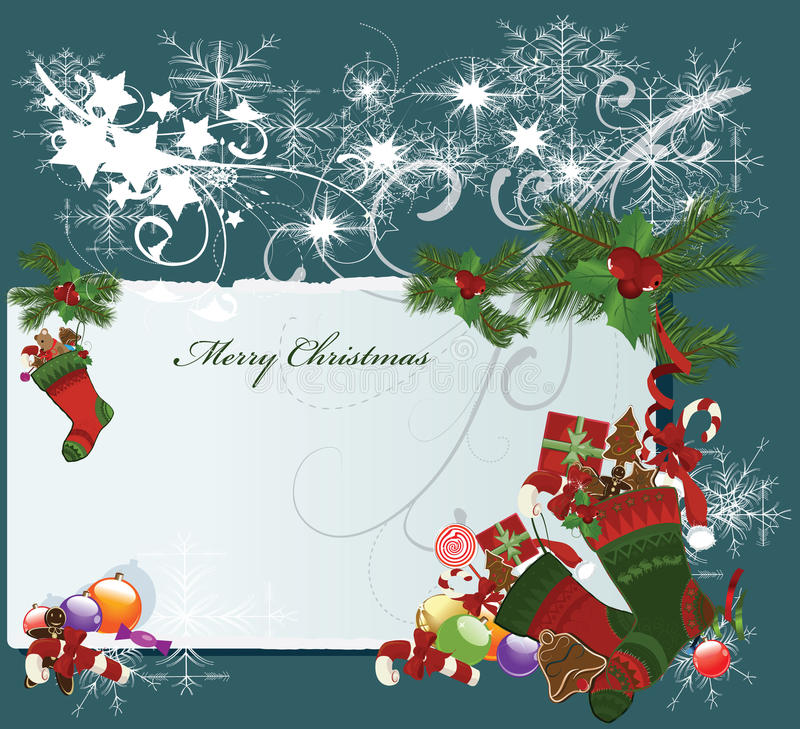 Download Merry Christmas card stock vector. Image of cane, claus - 16703161