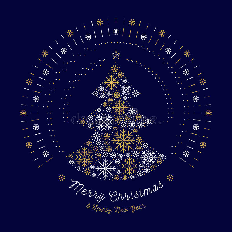 Merry Christmas card Abstract tree, Mono line sun bursts, Snowflakes stock illustration