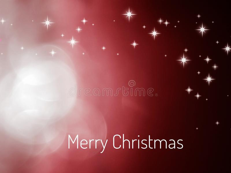 Merry Christmas card with bokeh and golden stars, isolated in color background stock image