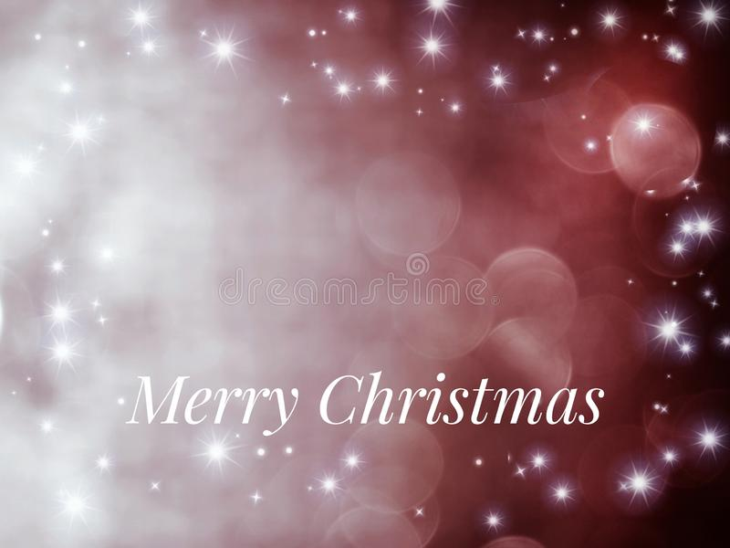 Merry Christmas card with bokeh and golden stars, isolated in color background stock photo