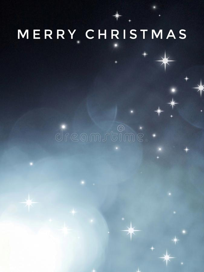 Merry Christmas card with bokeh and golden stars, isolated in color background royalty free stock photo