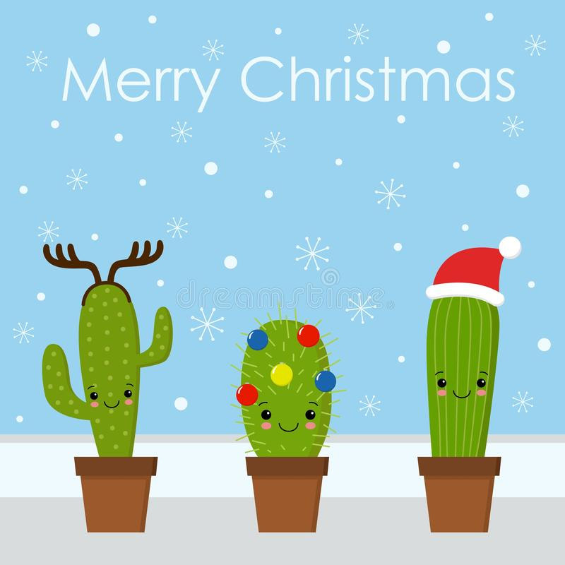 Merry Christmas card. Cactus in a Christmas hat. Cute greeting card. vector illustration