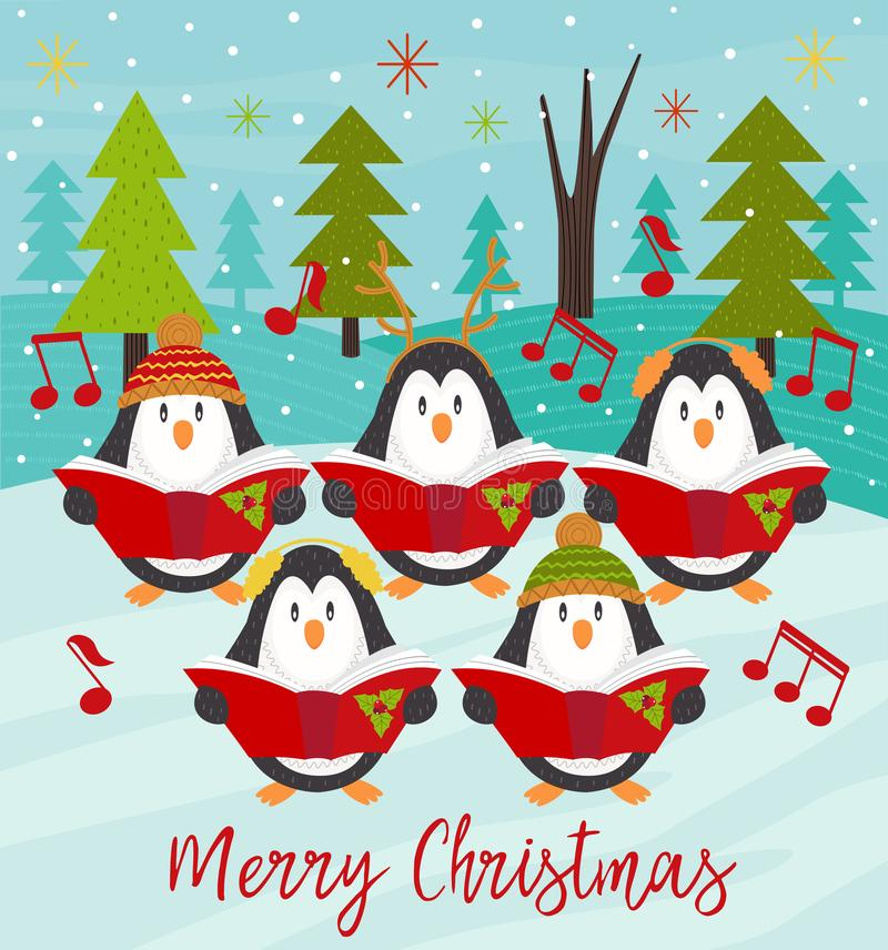 Merry Christmas card with choir penguins stock illustration
