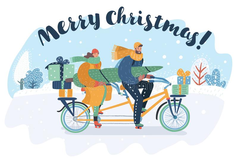 Merry Christmas card. Couple riding a tandem bike. royalty free illustration
