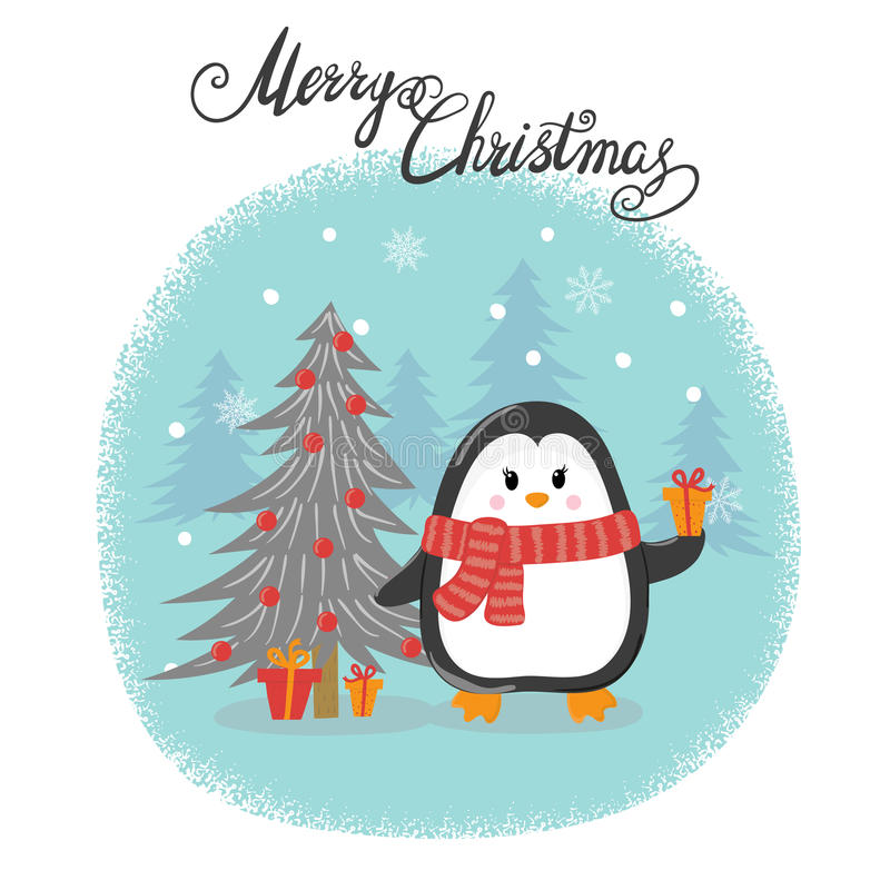Merry Christmas card with cute cartoon penguin. royalty free illustration