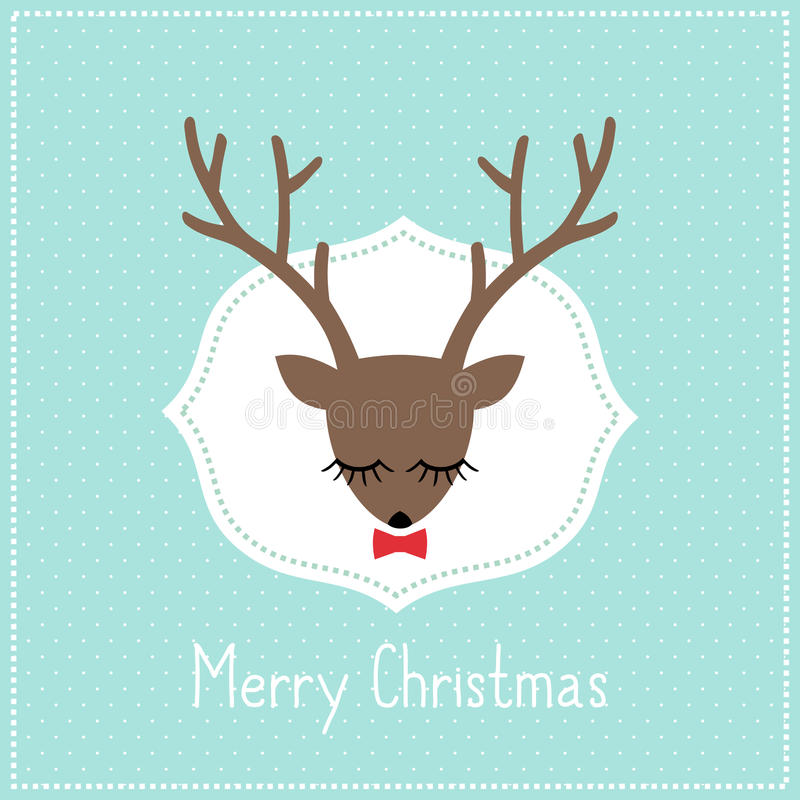 Download Merry Christmas Card With Cute Deer Bow Stock Vector