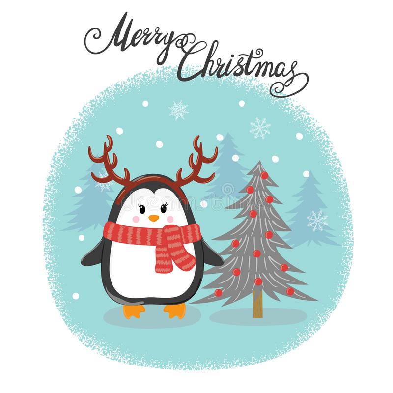 Merry Christmas card with cute penguin and fir-tree. Happy New Year vector illustration for greeting cards design, print, posters royalty free illustration