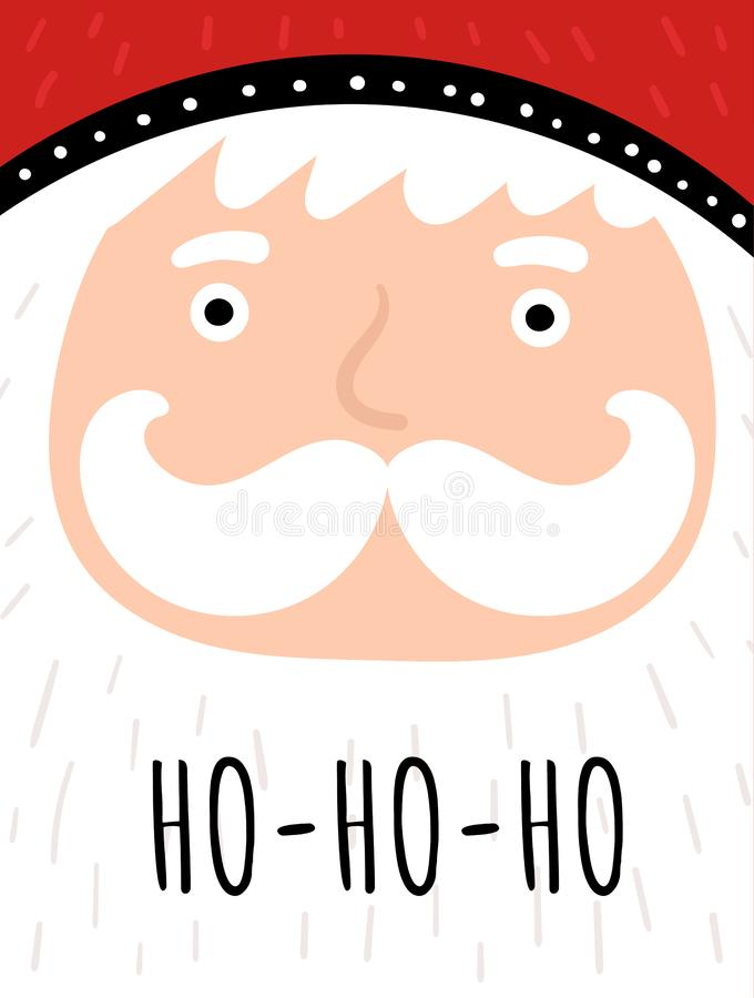 Merry Christmas card with cute Santa, snowflakes, text. Doodle winter holidays, noel background, poster vector illustration