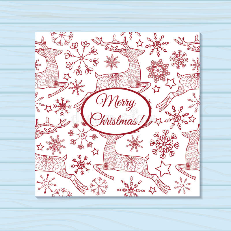 Merry christmas card with deers on wooden background. Vector merry christmas card with deers on wooden background vector illustration
