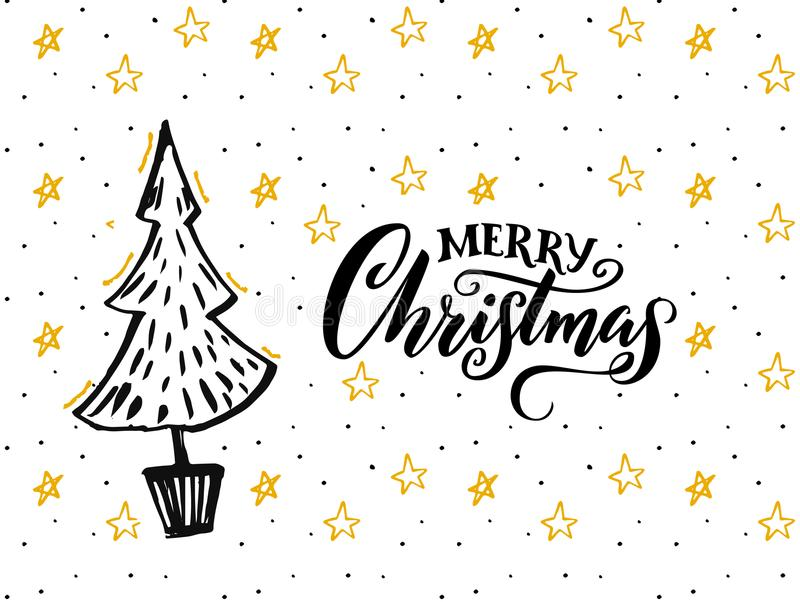 Merry Christmas card design with hand drawn tree and calligraphy caption. White background with yellow stars and black. Text vector illustration