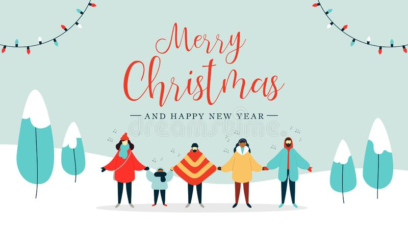Merry Christmas card of diverse people singing vector illustration