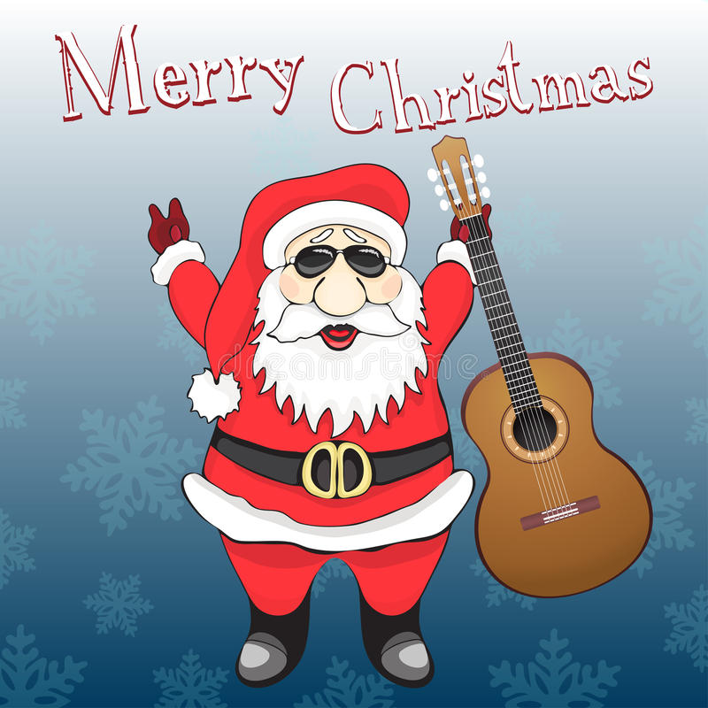Merry Christmas card. Funny rock and roll Santa Claus in sunglasses with guitar, on a blue background royalty free illustration