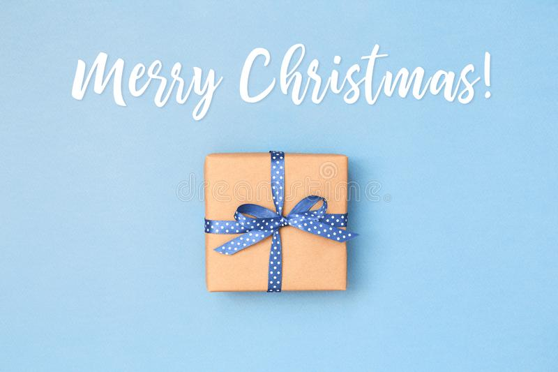 Merry Christmas card with gift box. royalty free stock images