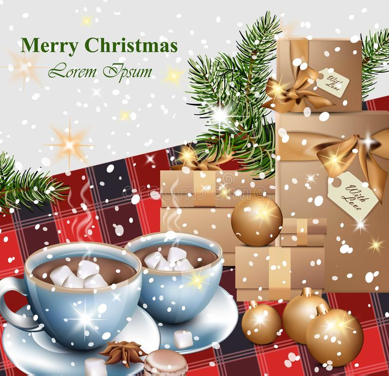 Merry christmas card with gifts and hot chocolate cups vector download merry christmas card with gifts and hot chocolate cups vector realistic illustrations stock vector m4hsunfo