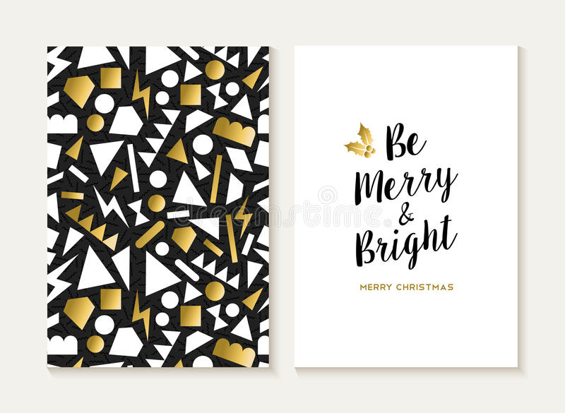 Merry christmas card gold retro 80s pattern vector illustration