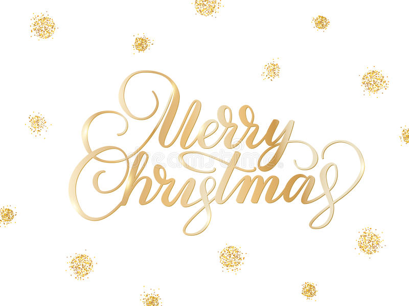 Merry christmas card with hand drawn lettering and golden glitter. Merry christmas card with hand drawn lettering. Background with golden glitter dots decoration royalty free illustration