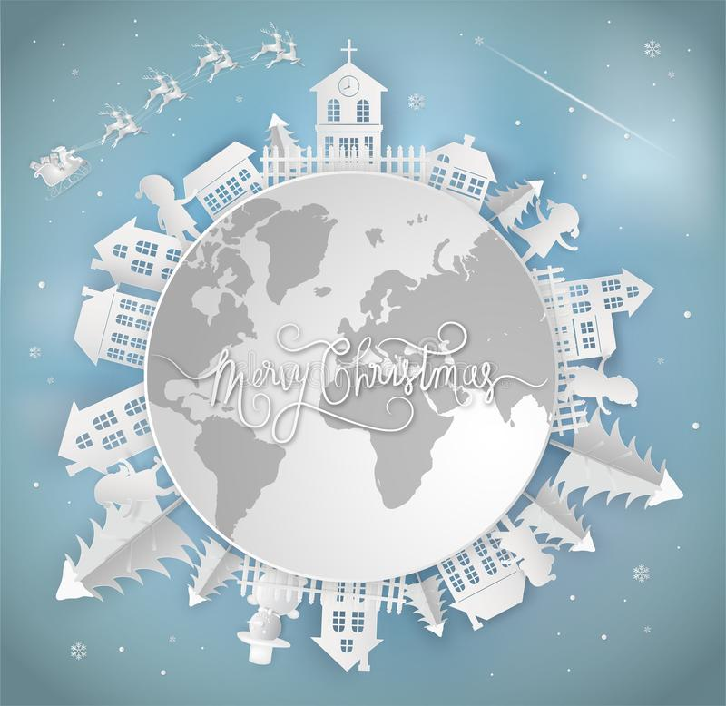 Merry christmas card and Happy New Year. santa claus is coming t. O the earth. with city winter landscape with snowflakes, light, stars. Paper art and digital royalty free illustration