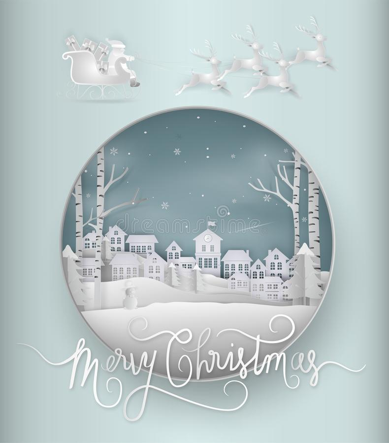Merry christmas card and Happy New Year. santa claus is coming t. O town. with winter landscape with snowflakes, light, stars. Paper art and digital craft style vector illustration