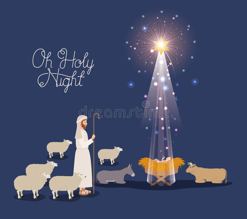 Merry christmas card with jesus baby and sheeper vector illustration