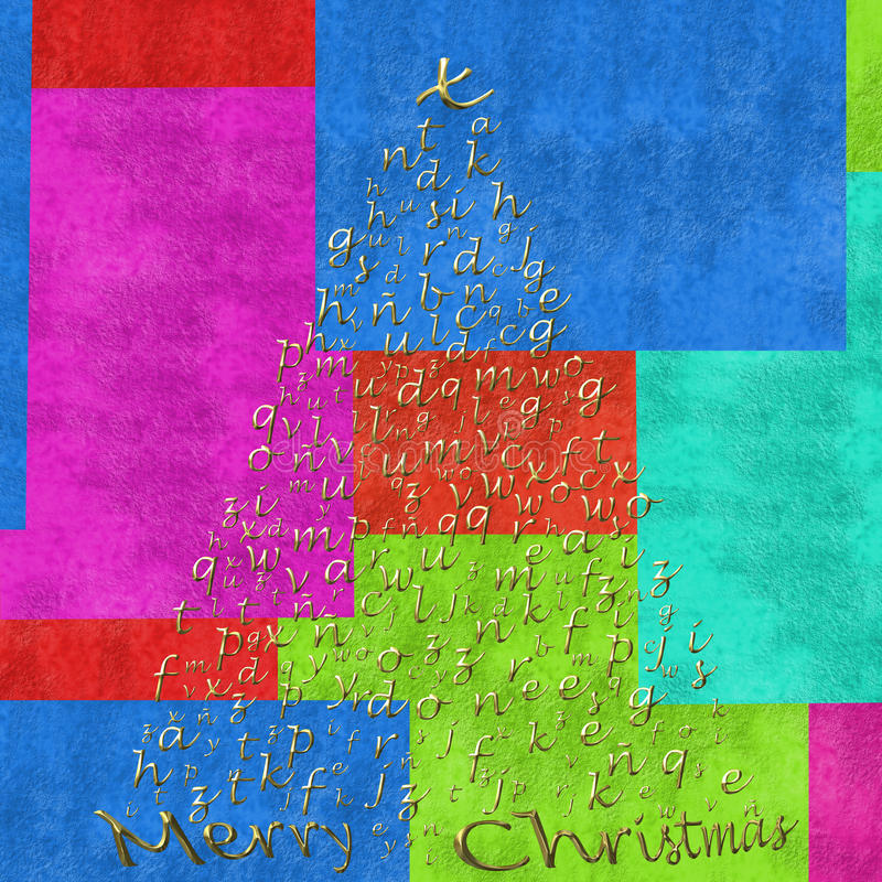 Merry christmas card, letter tree