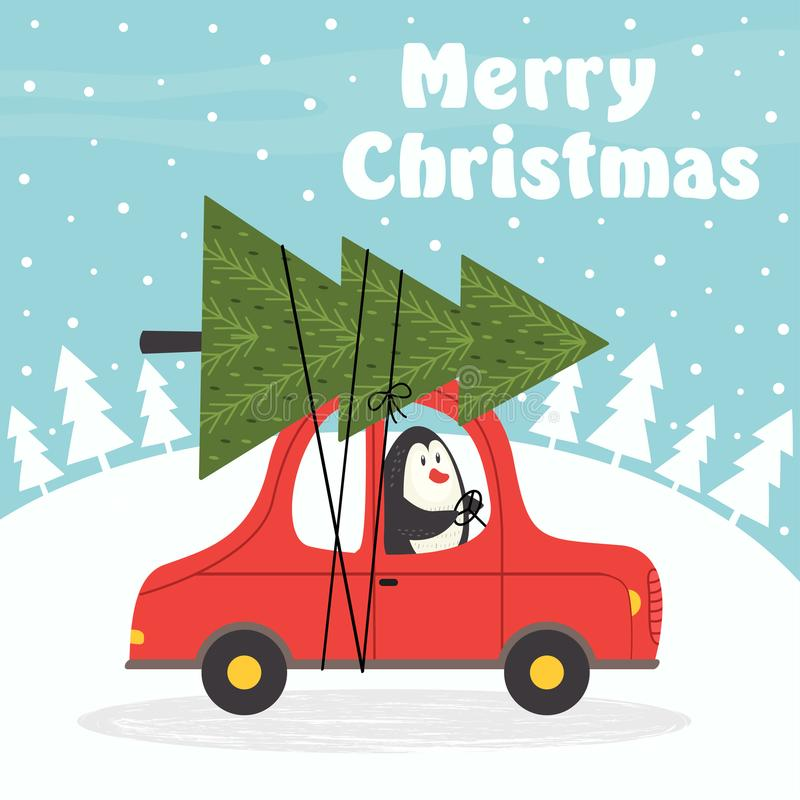 Merry Christmas card with penguin in car royalty free illustration