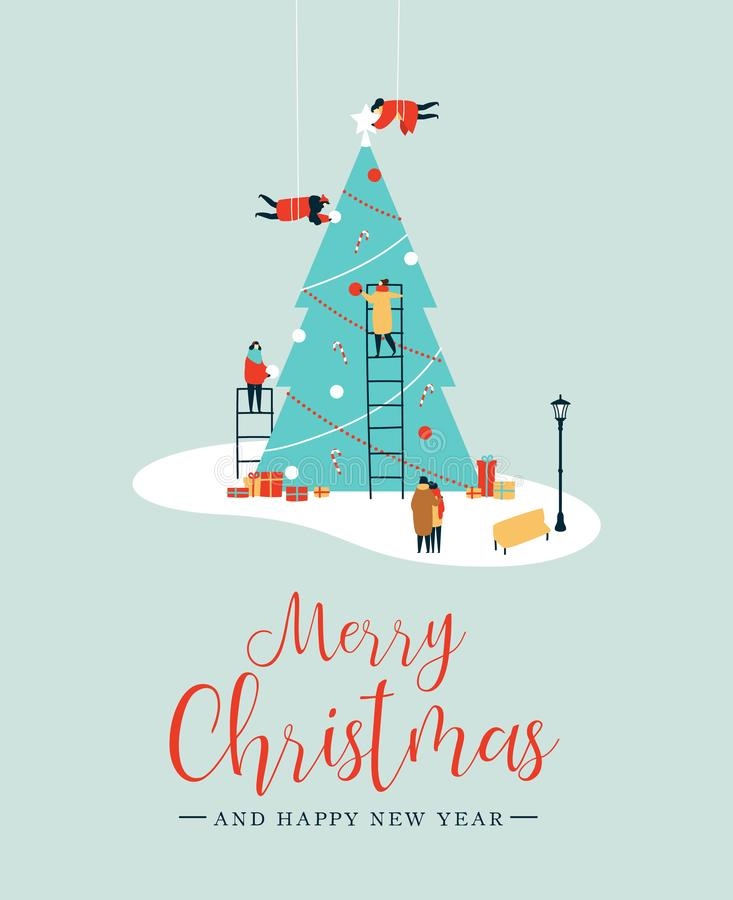 Merry Christmas card of people making pine tree royalty free illustration