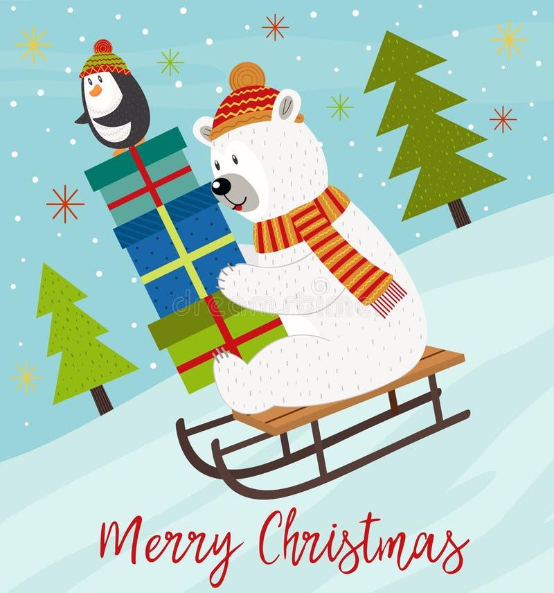 Merry Christmas card with polar bear and penguin on sled vector illustration